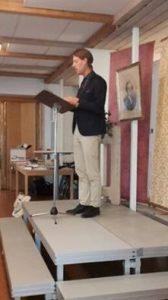 Predikant D Ringdahl undervisar om C O Rosenius betydelse idag.